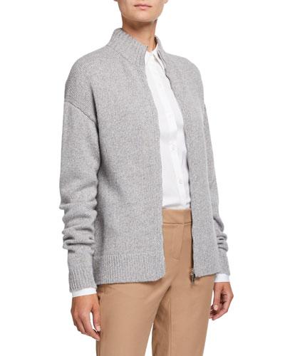 Cashmere Zip-Front Cardigan