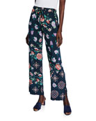 Johnny Was Vega Floral-Print Side-Slit Drawstring Pants