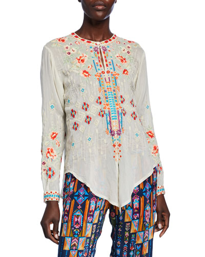 Donya Embroidered Tie-Front Long-Sleeve Top
