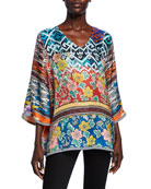 Johnny Was Burnout Print V-Neck 3/4-Sleeve Silk Twill