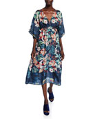 Johnny Was Annia Floral V-Neck Full-Sleeve Midi Dress