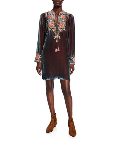 Maeve Floral Embroidered Long-Sleeve Velvet Trapunto Dress