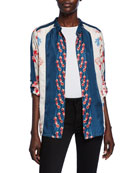 Johnny Was Georgina Colorblock Printed Silk Twill Button-Front