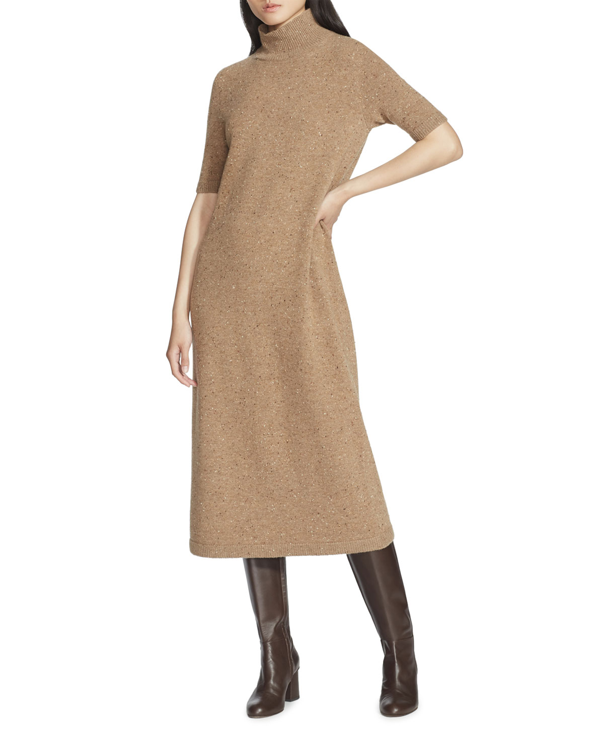 Lafayette 148 Dresses DONEGAL WOOL STAND-COLLAR SWEATERDRESS