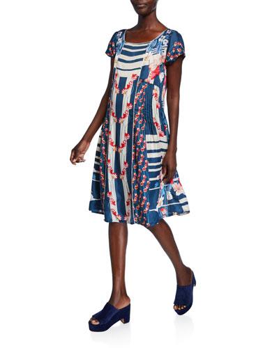Carmen Striped Floral-Print Cap-Sleeve Flare Dress