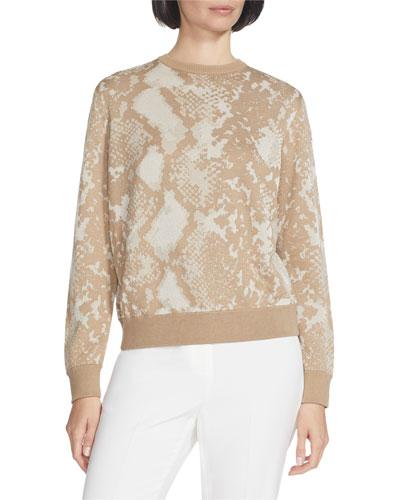 Cashmere/Silk Snake Jacquard Crewneck Sweater