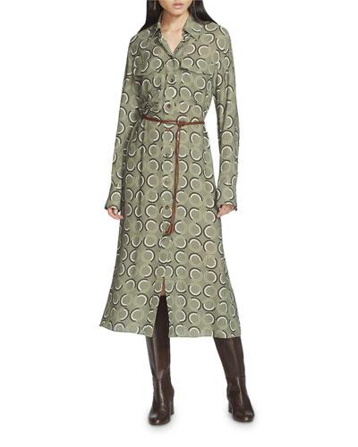 Mandalyn Modernist Circles Fluid Cloth Shirtdress