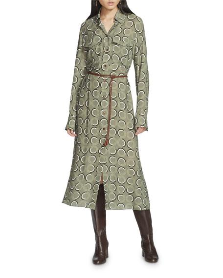 Lafayette 148 New York Mandalyn Modernist Circles Fluid Cloth Shirtdress