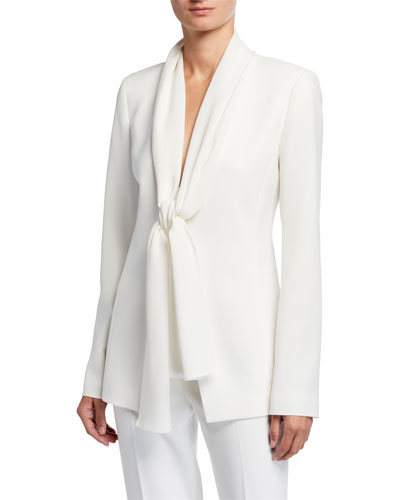 Kendria Crepe Jacket with Georgette Tie Combo
