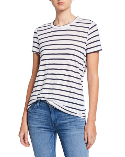 Seaside Resort Striped Linen Tee