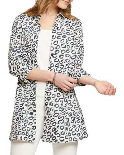 Leopard Kisses Button-Front Shirt Jacket