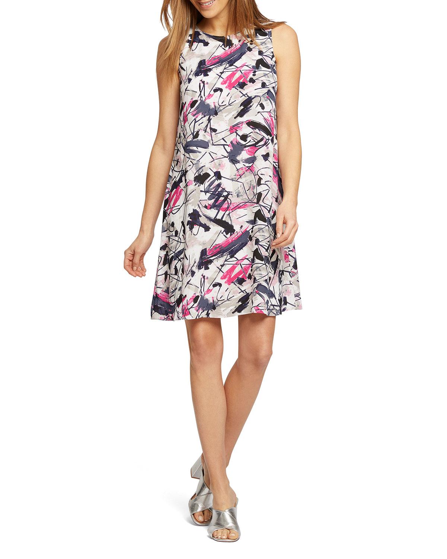 Nic+zoe Dresses GRAFFITI FEMME SLEEVELESS TIE-BACK SHIFT DRESS
