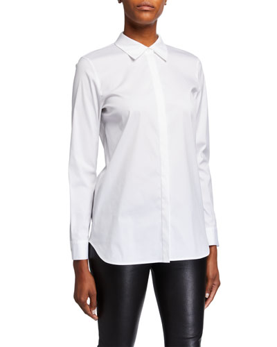 Brody Long-Sleeve Button-Down Italian Stretch Cotton Blouse