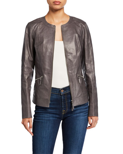 Everly Zip-Front Glazed Weightless Lambskin Leather Jacket