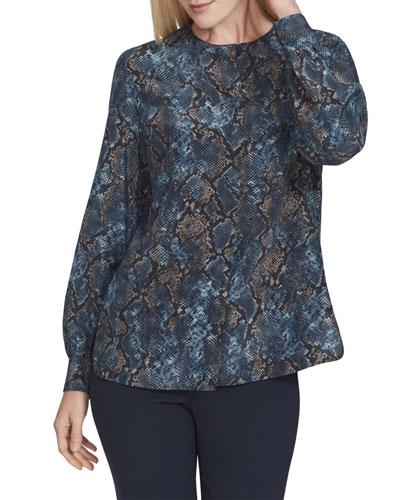Jenalee Sophisticated Snake-Print Long-Sleeve Silk Blouse
