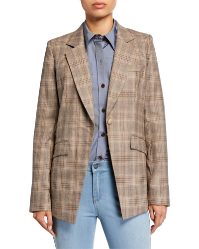 Virginia Primary Plaid One-Button Blazer