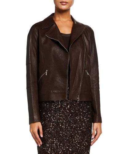 Luscious Lambskin Leather Moto Jacket