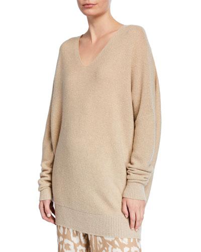 Cashmere Metallic Links Stitch V-Neck Sweater