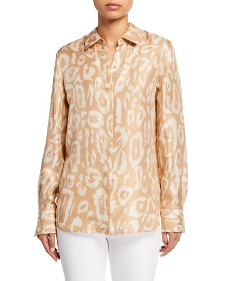 Lafayette 148 New York Painted Leopard Silk Button-Down Blouse