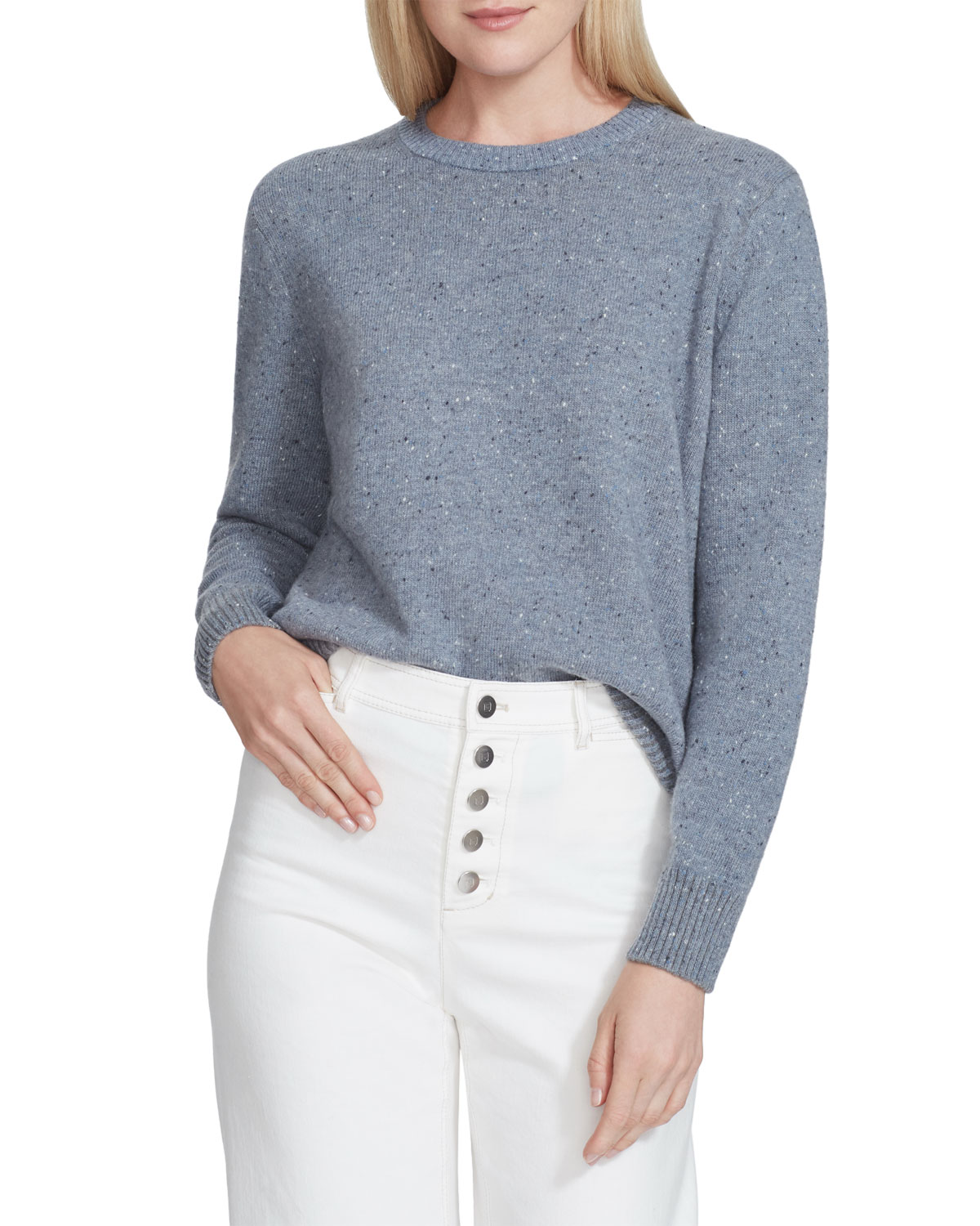 Lafayette 148 Sweaters DONEGAL SPECKLED WOOL CREWNECK SWEATER