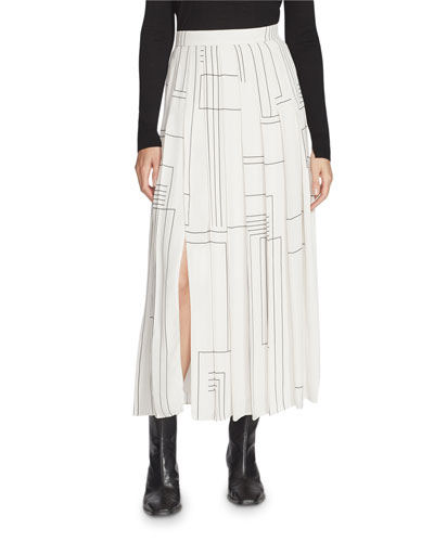 Eleanor Linking Lines Drape Cloth Pleated Midi Skirt