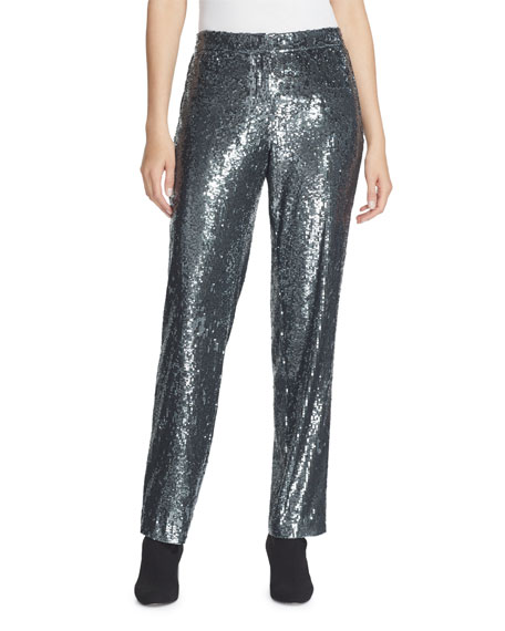 Lafayette 148 New York Fulton City Sequins Straight-Leg Pants