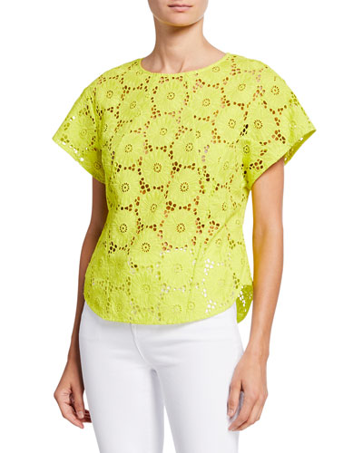 Nellie Floral Lace Short-Sleeve Cropped Top