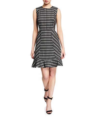 Reiley Plaid Sleeveless Ruffle-Hem Dress