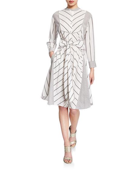 Diane von Furstenberg Jaylah Striped Tie-Front Shirtdress
