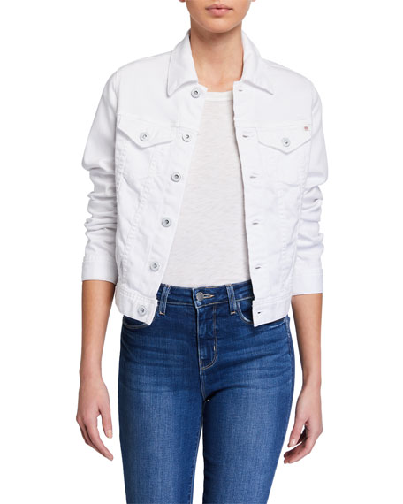 AG Adriano Goldschmied Robyn Button-Front Denim Jacket, True White