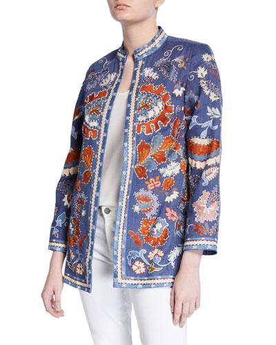 Elsa Hand Embroidered Linen Jacket with Mandarin Collar