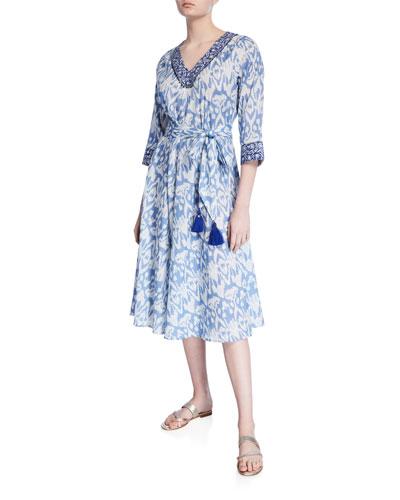 Ikat V-Neck 3/4-Sleeve A-Line Dress