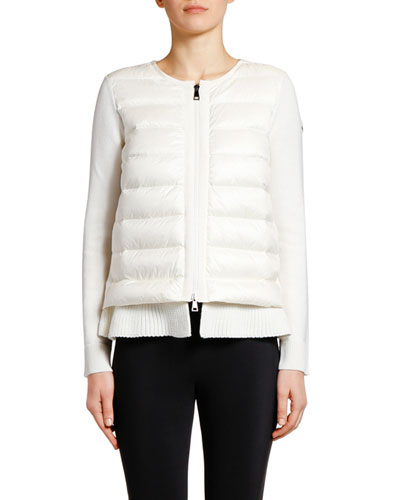 Double-Layer Knit & Puffer Cardigan