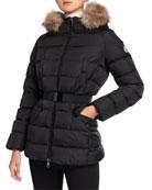 Moncler Clion Belted Puffer Jacket w/ Fur Hood