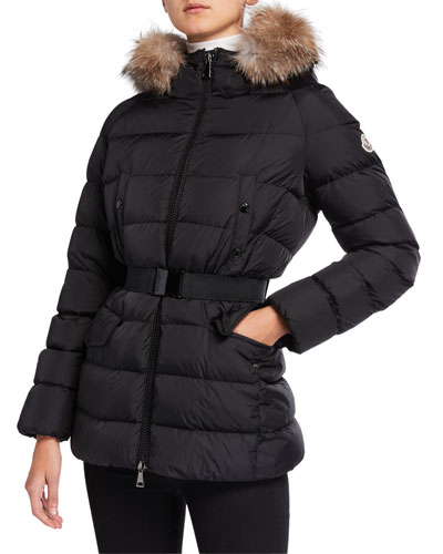 5e2e48819d4 Quick Look. Moncler · Clion Belted Puffer Jacket w/ Fur Hood