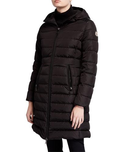 Talev Long Leather-Trim Puffer Coat