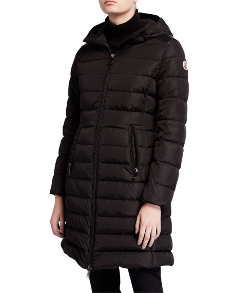 Moncler Talev Long Leather-Trim Puffer Coat