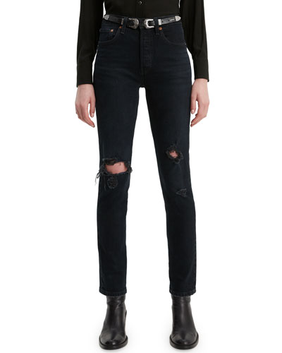 501 High-Rise Distressed Skinny Jeans