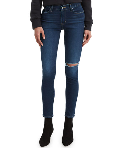 Curvy Skinny Ankle Jeans with Distressing