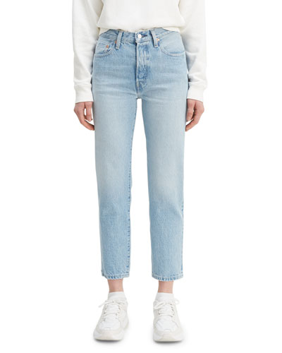501 Crop High-Rise Jeans with Embroidery