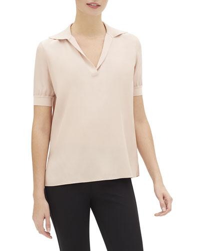 Winifred Short-Sleeve Matte Silk Blouse