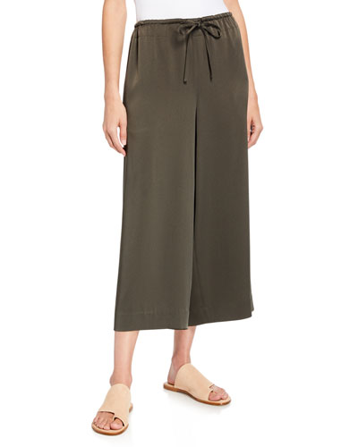 Cropped Satin Drawstring Culottes