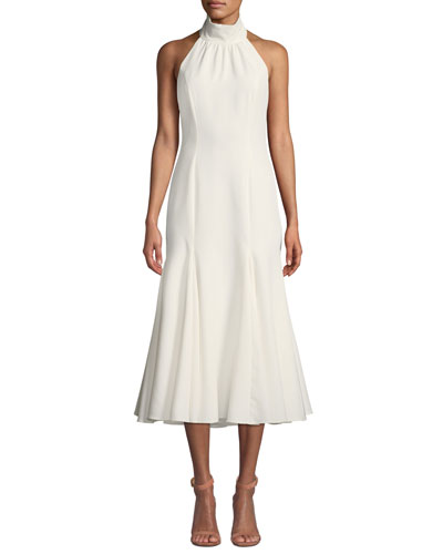 Penelope Italian Cady Halter Dress w/ Open Back