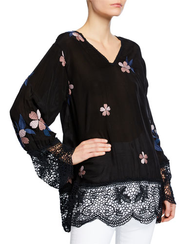 Dhalia V-Neck Georgette Top with Lace & Floral Embroidery