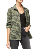 Good American Snap-Front Camo-Print Utility Jacket - Inclusive