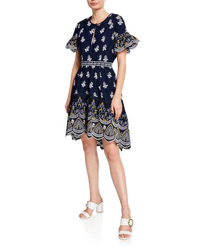 Richa Keyhole Ruffle-Sleeve Dress