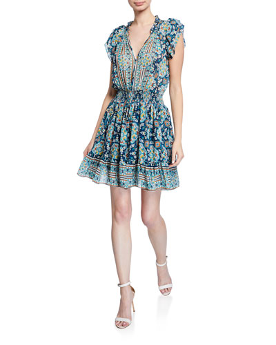 Amine Printed Tie-Neck Smock-Waist Fit-&-Flare Dress