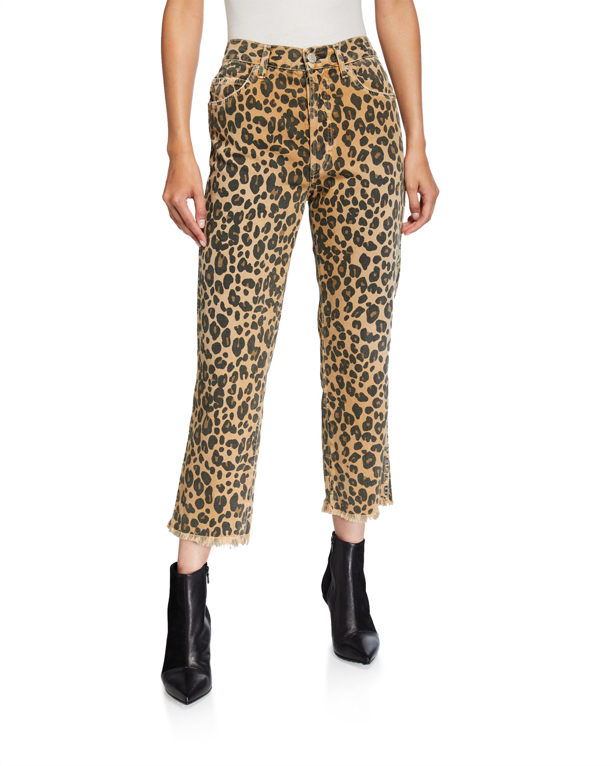 Amo Denim Jeans LOVERBOY LEOPARD-PRINT RELAXED CROPPED STRAIGHT JEANS