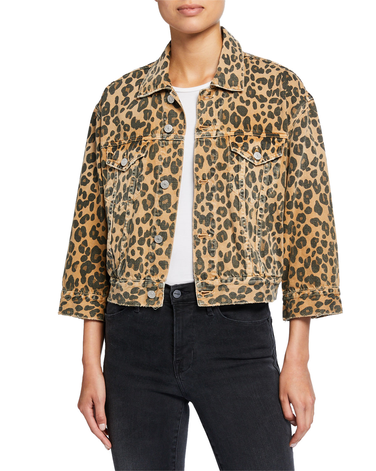 Amo Denim Jackets LULU CROPPED LEOPARD-PRINT JACKET