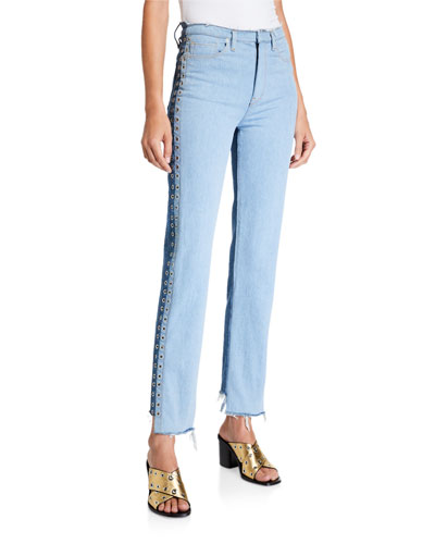 Holly High-Rise Straight Step-Hem Jeans w/ Grommets